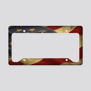 Distressed Vintage American Flag License Plate Hol